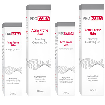 PROPAIRA Acne Prone Skin Foaming Cleansing Gel 100ml x2 Purifying Cream 30ml x 2 (Double Combo)