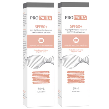Propaira SPF50+ Sunscreen BB 50mL - Unifies Skin Tone & Covers Imperfections x 2